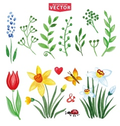 Watercolor flowersgreen branches setspring vector