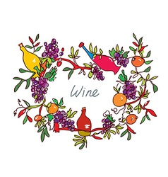 Frame for wine with leaves and bottles - vector