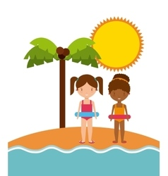Girls sun palm tree icon summer and vacation vector