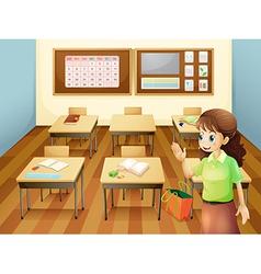 A teacher inside the classroom vector image vector image