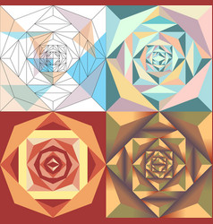 Abstract geometric flower set vector