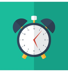 Blue alarm clock icon over green vector image