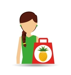 cartoon girl shopping pineapple fruit icon vector image