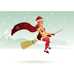 Christmas witch vector image