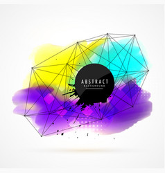 Colorful watercolor stain background with network vector