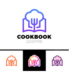 Cook book logo cooking learn logotype vector