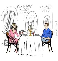 Dating in restaurant vector