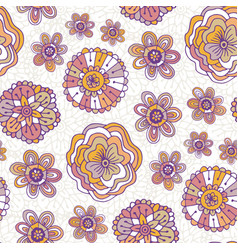 Doodle floral pattern boho background for vector