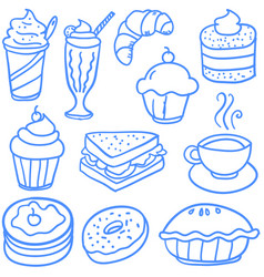 Doodle of various food and drink vector