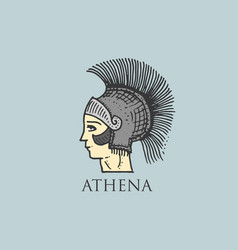 godness athena logo ancient greece antique symbol vector image