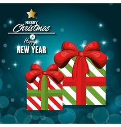 greeitng merry christmas with gift box and shiny vector image vector image