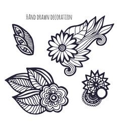 Hand drawn flowers coloring page decoration set vector