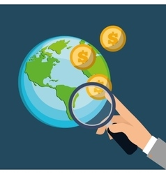 Hand holding search coins world financial vector