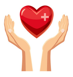 Hands holding red heart with cross icon vector