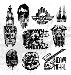 Heavy rock music badge set vector image