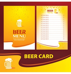 menu beer card vector image vector image