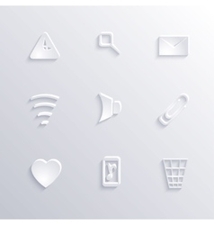 Modern paper icon set collection with long shadow vector image vector image
