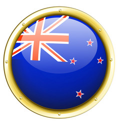 New zealand flag on round frame vector