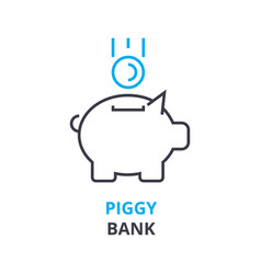 piggy bank concept outline icon linear sign vector image vector image