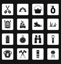 Recreation tourism icons set squares vector