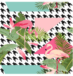 seamless tropical flowers and flamingo pattern vector image