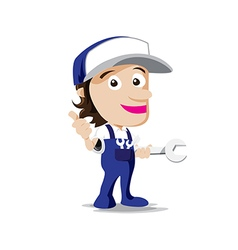 Smile mechanic man with tool in hand thumb up vector