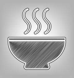 Soup sign pencil sketch imitation dark vector