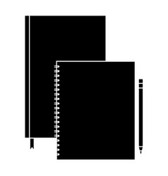 Spiral notepad diary and pencil template branding vector