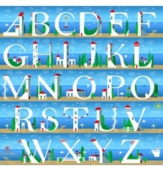 Summer alphabet cute sea town vector