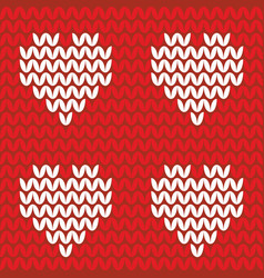 Tile knitting pattern hearts on red background vector