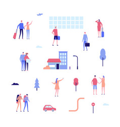 Tourism - flat design style set of isolated vector