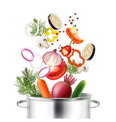 vegetables and pot concept vector image