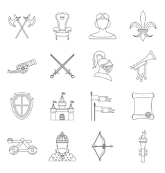 Knight medieval icons set outline style vector image