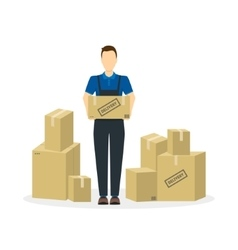 Delivery man and cardboard boxes vector