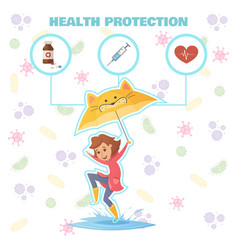 Health protection design concept vector