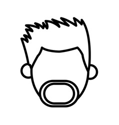 outlined head male mustache beard faceless image vector image