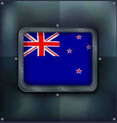 new zealand flag on sqaure frame vector image