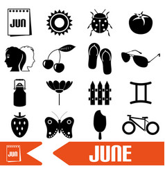 June month theme set of simple icons eps10 vector