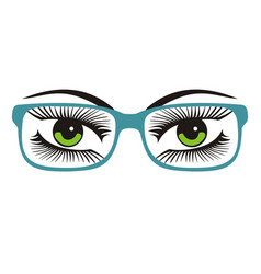 Womens green eyes with glasses vector