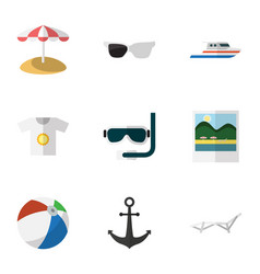 Flat icon summer set of spectacles parasol scuba vector