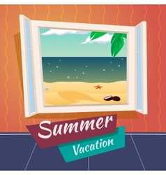 Summer holiday vacation cartoon open window sea vector