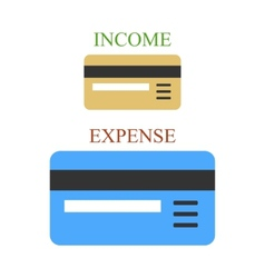 Bank cards as sings of income and expense vector