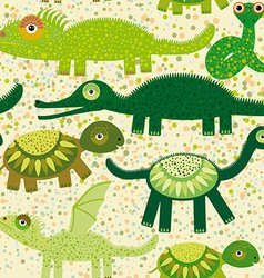 Cheerful seamless pattern with crocodile turtle vector image