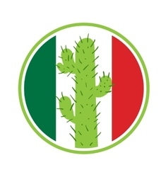 Mexican cactus in a circle on the background vector