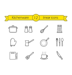 Kitchenware linear icons set vector