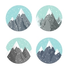Winter landscape mountaines vector