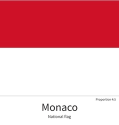 National flag of monaco with correct proportions vector