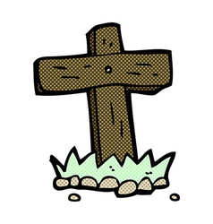 Comic cartoon wooden cross grave vector
