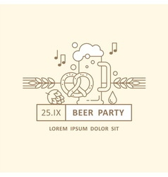 Beer festival party menu linear elements vector