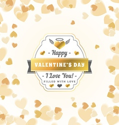 Happy valentines day vintage golden badge vector